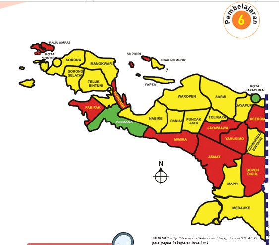 Gambar di atas menunjukkan peta daerah Papua. Apa keunikan daerah Papua menurutmu? Tuliskan pada tempat di bawah ini.